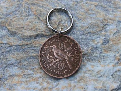 Pre Decimal NZ Coins Key Ring   | Felt