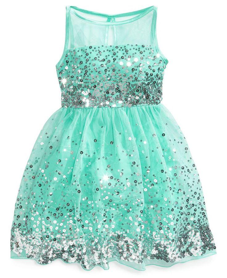 Ruby Rox Girls' Sequin Illusion Dress - Kids Girls 7-16 - Macy's ($67.99)   Kids Clothing Ideas