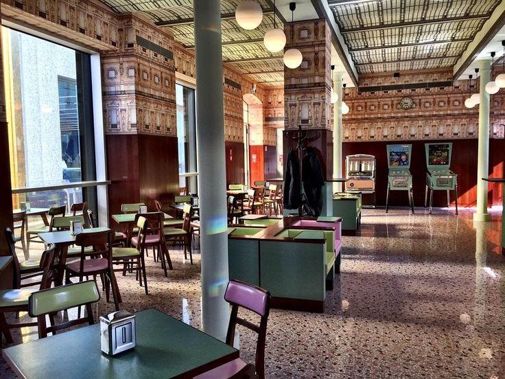Bar Luce at the Fondazione Prada in Milan, designed by  Wes Anderson #art #prada #foundation