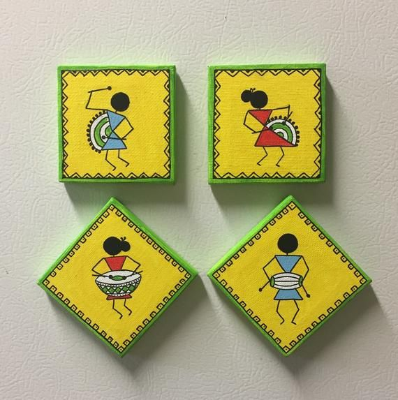 Hand Painted Magnets Warli Magnets Warli Designs Canvas Magnets Magnet Set Favor Return Gift Wall Art Diy Paint Diy Mural Painting Easy Canvas Art