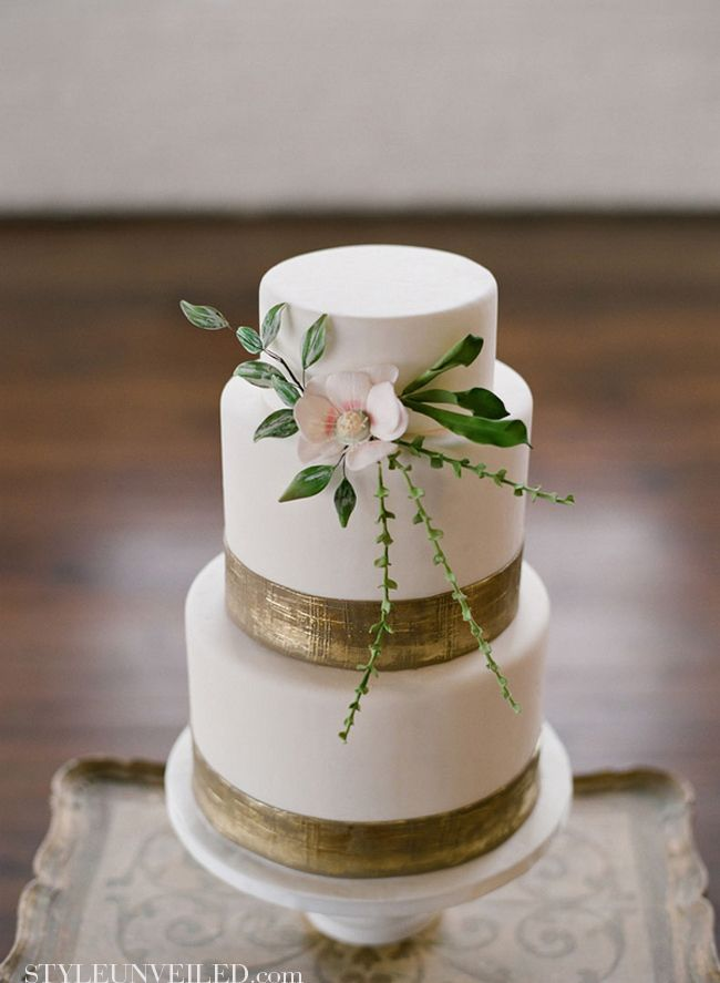 White Cake with Gold, Pink, and Green Detail