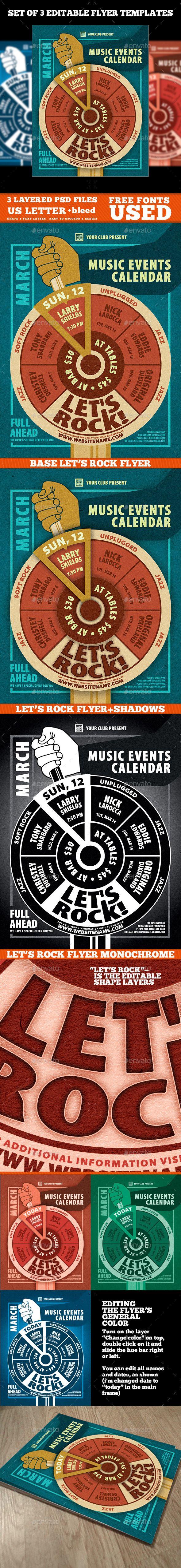 Music Events Calendar Poster Template PSD