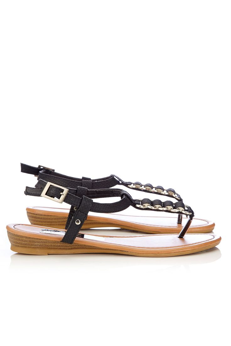 Black Chain Detail Sandal http://bit.ly/1mA3NRZ #WallisFashion