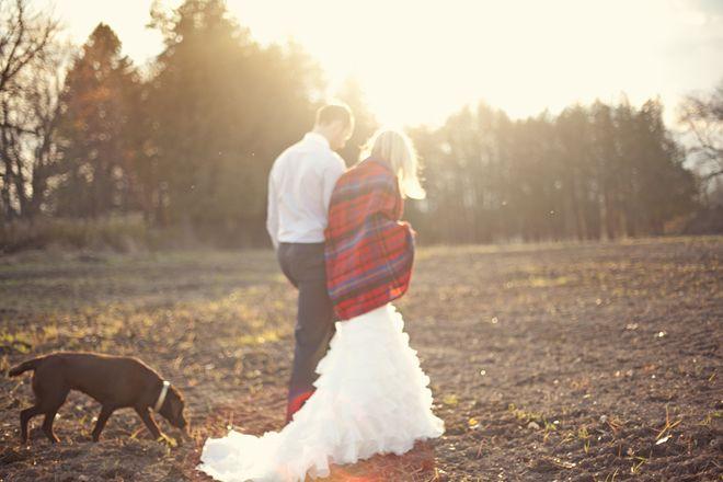 1 year anniversary shoot. Dress + Plaid blanket + pup! Love it.