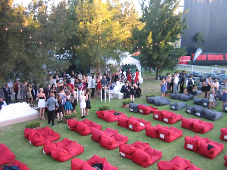 Pre-film VIP drinks at the beautiful Movies by Burswood Outdoor Cinema in Perth Western Australia. Ambient Lounge bean bags and Margaret River wine make it an amazing night out!