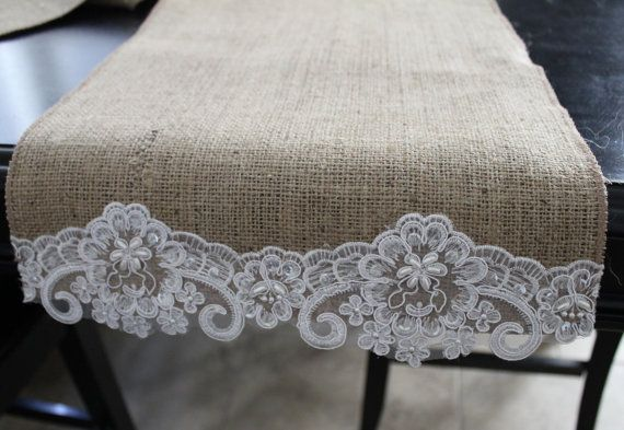Burlap and Beaded Lace Table Runner by ShopFrillsBoutique on Etsy