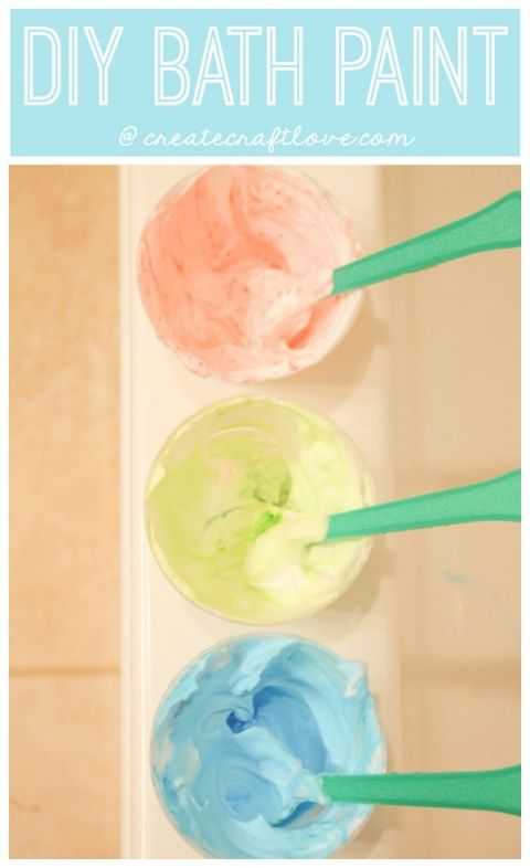 Whip up some this DIY Bath Paint to keep bath time fun!  via createcraftlove.com