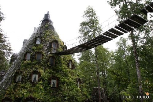 The Montana Magica Lodge, in the Huilo Huilo Biological Reserve, Patagonia (my most desired vacation spot!)