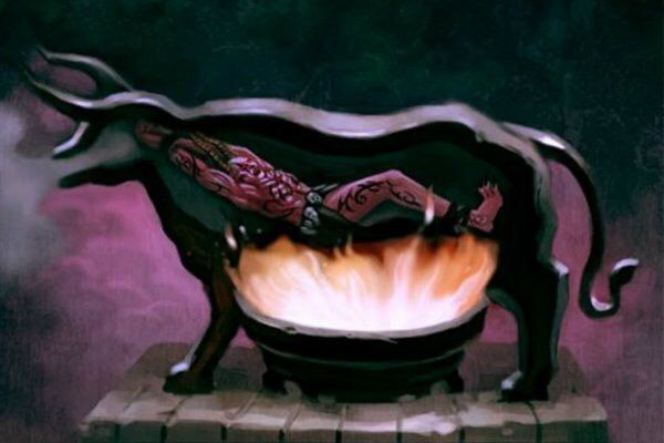 "The ""Brazen Bull"", (also known as the ""Bronze Bull"" or ""Sicilian Bull""), was a torture & execution device designed in ancient Greece. Made entirely of bronze, the bull was equipped with a device that converted the screams of the dying into the sounds of a bull. #WTFisWrongWithHumanity"