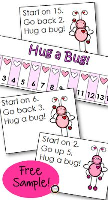 Valentine on the Number Line (Adding & Subtracting)  Hello Teaching Friends! Could your little mathematicians use some extra practice adding and subtracting on the number line? Here's a fun set with a cute love bug theme for Valentine's Day! Using key words like start go up and go back students will follow two-step directions and mark the number they end up on. The first player to mark five consecutive numbers wins the game!  Happy Teaching!  addition CCSS math kindergarten February February…