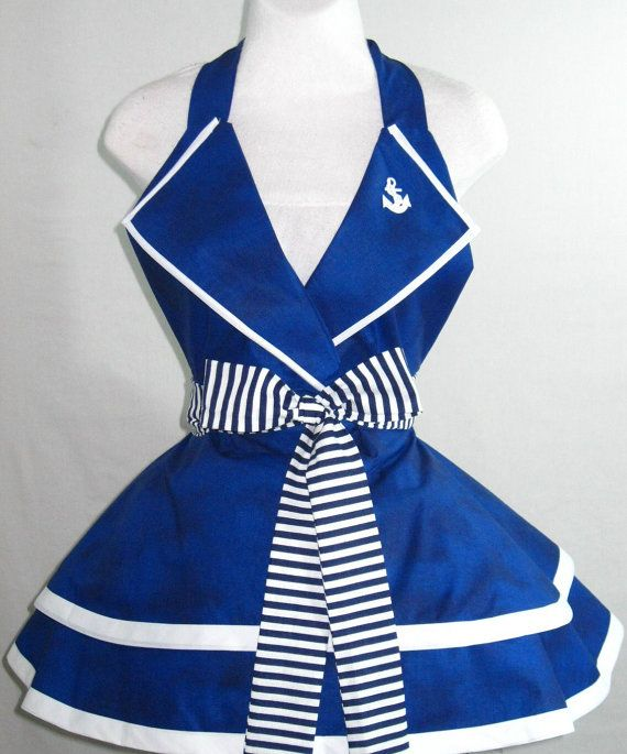 Sexy Navy Pin Up Girl Sailor Costume Apron by sjcnace4 on Etsy, $60.00 @Jayme Esplen Loberg