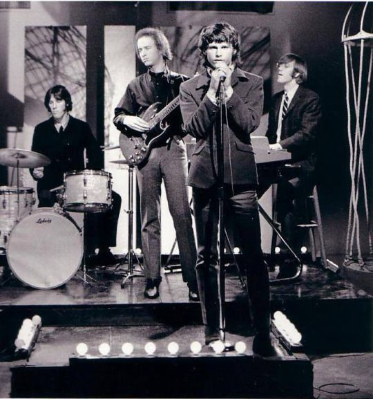 """The Doors on The Clay Cole Show in New York City (WPIX, Channel 11), 1967, performing """"Break On Through."""" Photo by Linda Eastman."""