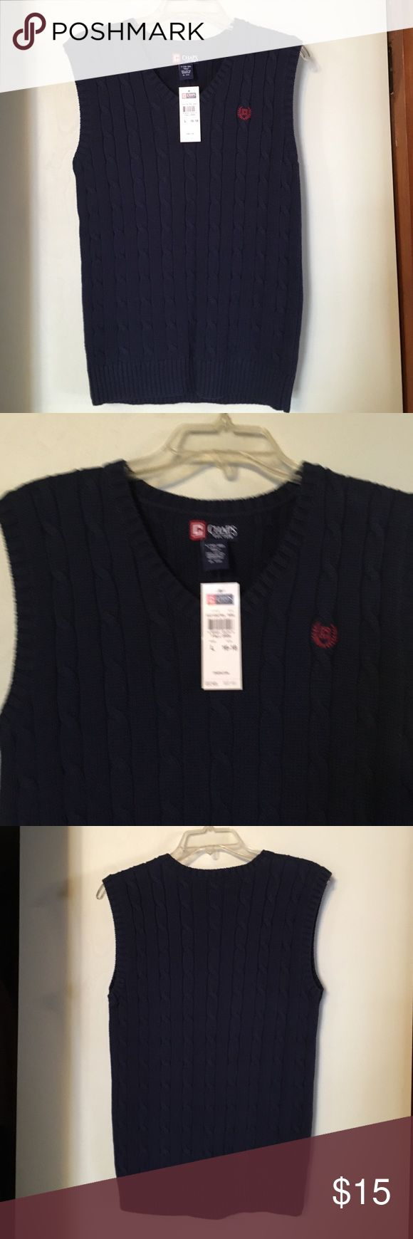 NWT Chaps Boys Navy Blue Sweater Vest L (16-18) NWT Chaps boys navy blue sweater vest in size L (16-18). Retail price $32. Chaps Shirts & Tops Sweaters