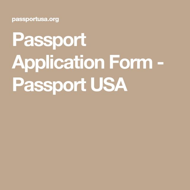 Passport Application Form - Passport USA