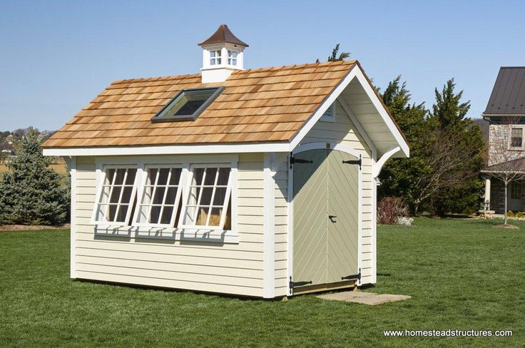 8 x 12 Premier Garden Shed with skylight, cupola, chevron doors and LP lap siding