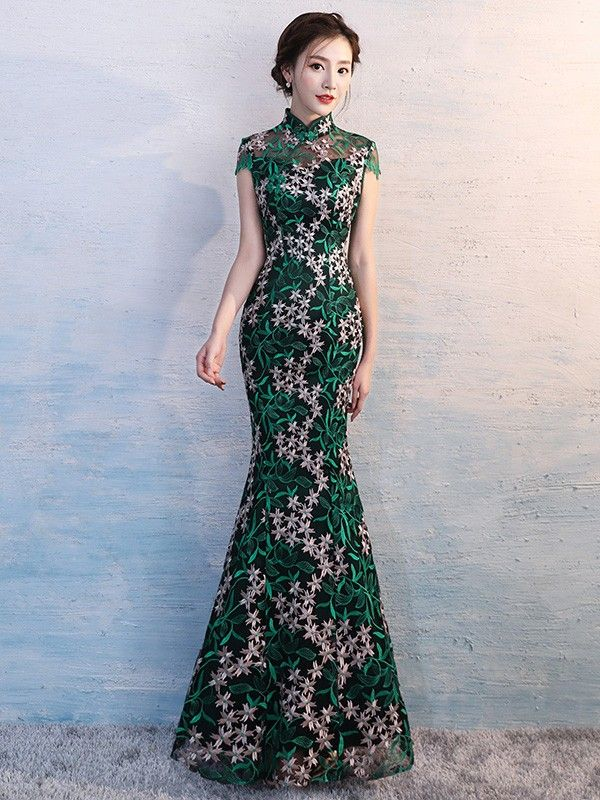 Green Embroidered Overlay Qipao / Cheongsam Evening Dress