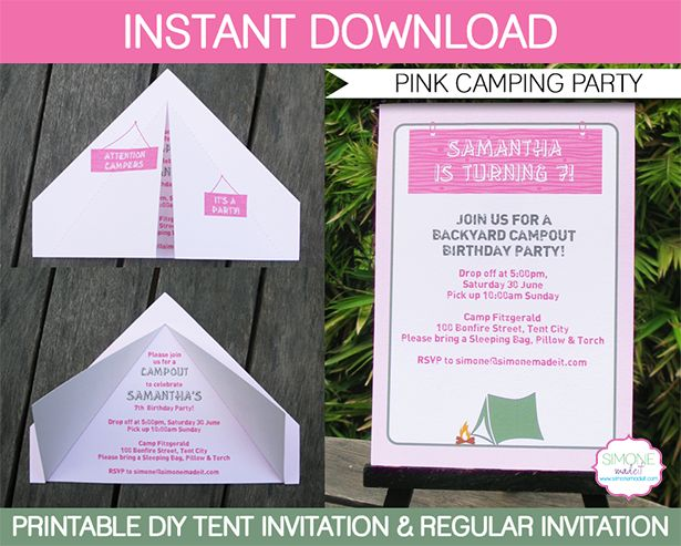 Camping Tent Invitation Template | Campout | Glamping | Birthday Party | Editable DIY Theme Template | INSTANT DOWNLOAD $7.50 via SIMONEmadeit.com
