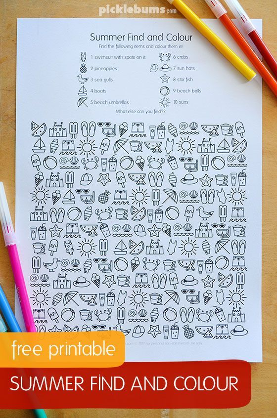 Free printable find and color activity for kids. Perfect for summer break!