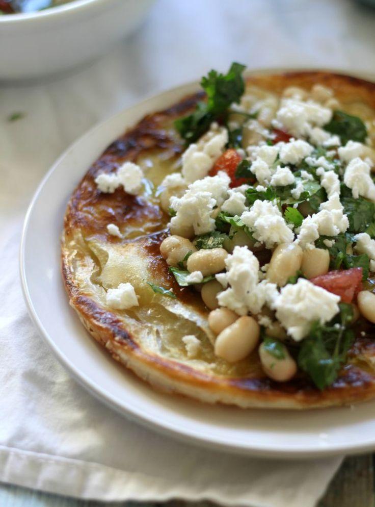 Marinated White Bean Za'atar Salad on Malawach - from Jewhungry, the blog.