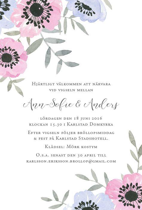 Anemoner hörn - Inbjudan, inbjudningskort till bröllop, dop eller namngivning Akvarell Anna Göran www.annagorandesign.se