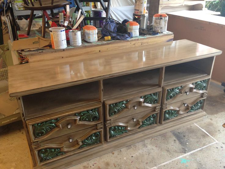 How to make a media cabinet out of an old dresser look great!