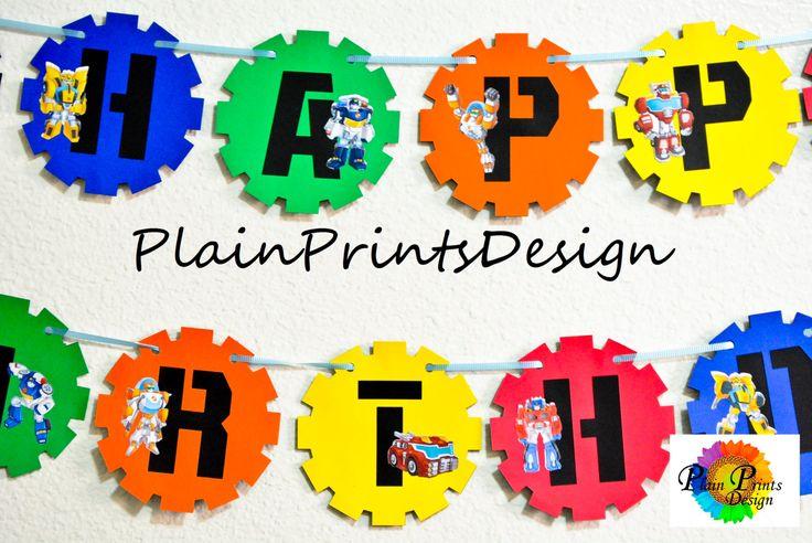Transformer Rescue Bots Birthday Banner Inspired!!! by PlainPrintsDesign on Etsy