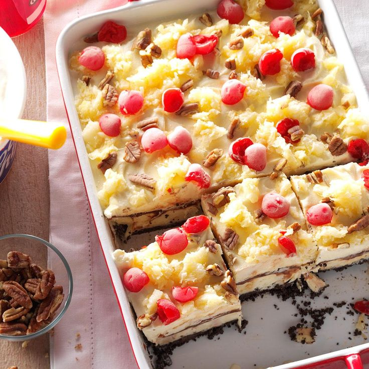 Banana Split Supreme Recipe -This lovely and delightful dessert has the classic flavor of a banana split. It's a cool, creamy treat with no last-minute fuss since you just pull it from the freezer. It always solicits praise from our big family. -Marye Franzen, Gothenburg, Nebraska