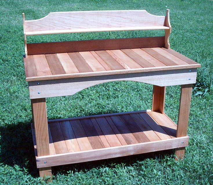 Cedar creek woodshop porch swing patio swing picnic for Garden potting bench designs