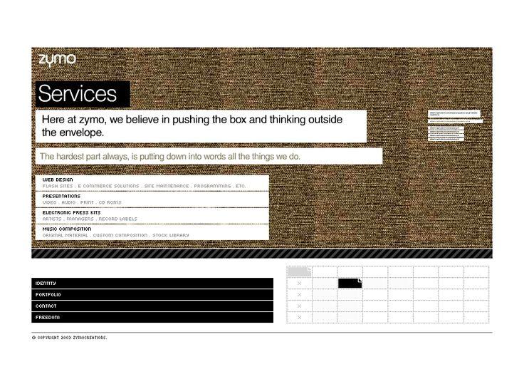 Zymo Creations website in 2003