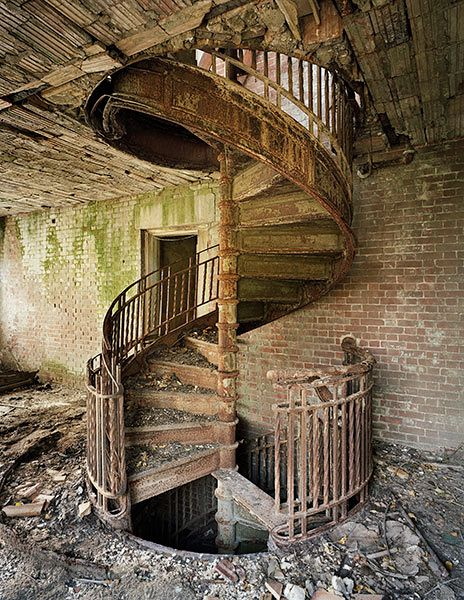 Stairs in abandoned Nurse's Home, abandoned island. North Brother Island, NY.Photo by Chris Payne