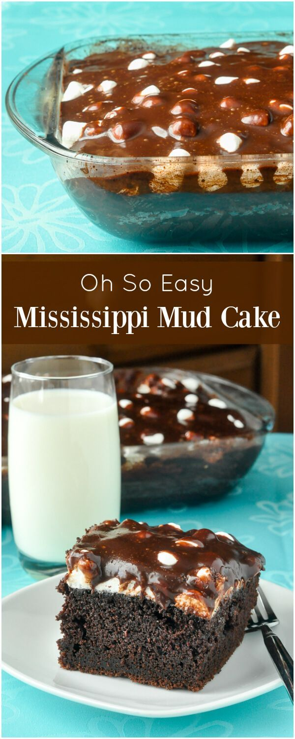 Mississippi Mud Cake – a southern favourite that's easy to make from scratch and is popular with kids of all ages. Chocolate cake, marshmallow and a sweet chocolatey glaze; what's not to love? #SouthernCooking #easyDessert