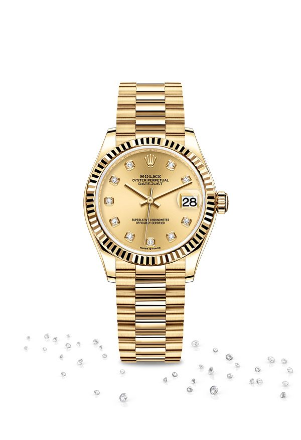 9c110598a35 The Rolex Datejust 31 in 18ct yellow gold featuring a champagne-colour dial  set with diamonds and a President bracelet.