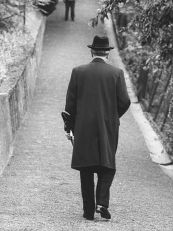 Konrad Adenauer Strolling Up the Footwalk to His Rhondorf Home Premium Photographic Print by Ralph Crane at Art.com