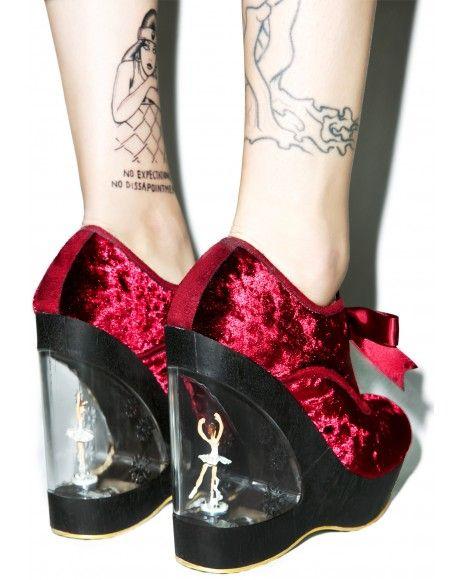 Irregular Choice Glissade Ballerina Wedges in Burgundy check out my blog handlethisstyle.com