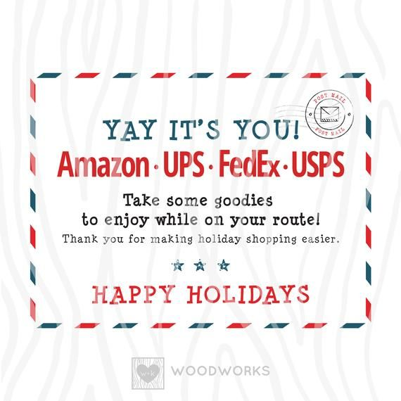 2 Pack Printable Pdf Happy Holidays Delivery Carrier Etsy Christmas Delivery Delivery Driver Holiday Shop