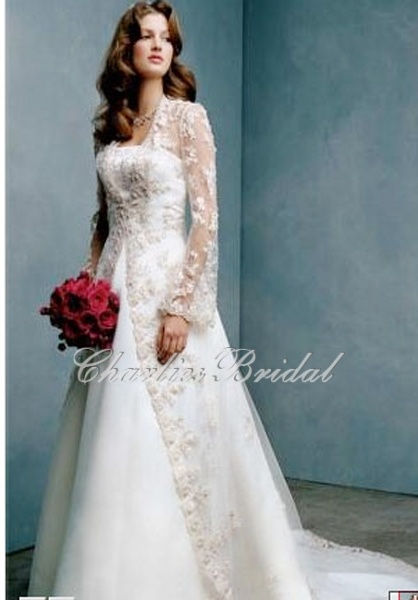 Lace collarless long sleeve wedding dress jacket wedding for Wedding dress long sleeve lace jacket