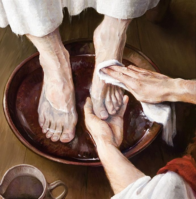 "Lavando os Pés de um  Discípulo"" - Laurie Lisonbee Pintora realista americana contemporânea"