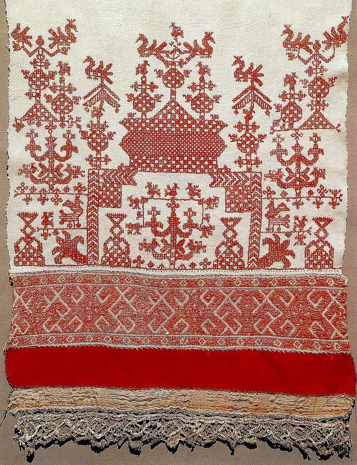Россия.Конец свадебного полотенца.Фрагмент.1890  Traditional Russian embroidery pattern