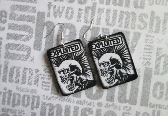 WOODEN EARRINGS punk The Exploited  handmade decoupage by MEGSWORD