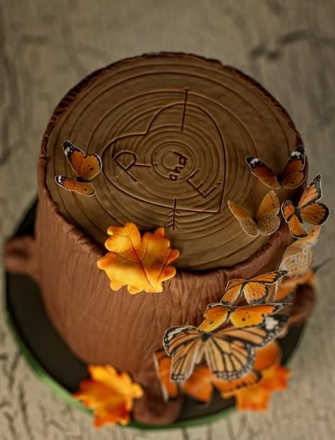 """Fall Cake Decorating: Faux Bois with a heart """"carved"""" in it."""