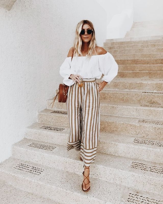 c928930cc1399 Summer outfit: Wide legged striped pants, strappy leather sandals, white  off the shoulder