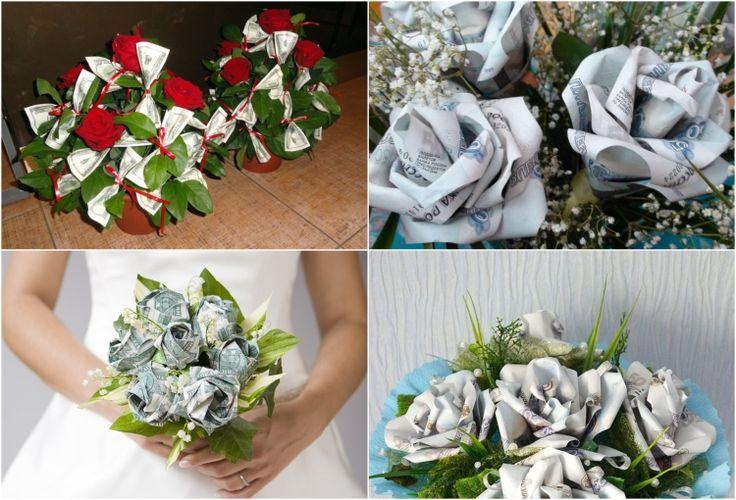 geldgeschenke-hochzeit-blumenstrauss-rosen-falten