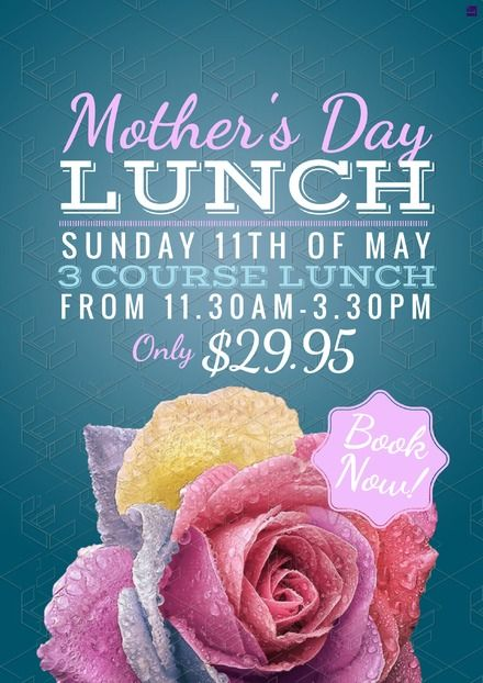 Mother's Day promotional template for your venue or event, edit or customise your own design for print and digital marketing easily. Visit easil.com to get started!