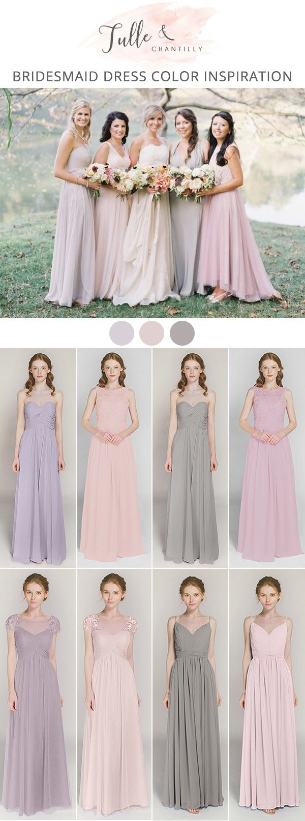 blush pink and lavender mix and match bridesmaid dresses