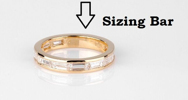 The sizing bar is a small, solid section of an eternity ring that can be cut for sizing. - See more at: http://www.callagold.com/jewelry-definitions/jewelry-definition-sizing-bar/#sthash.ZuvnY3oo.dpuf