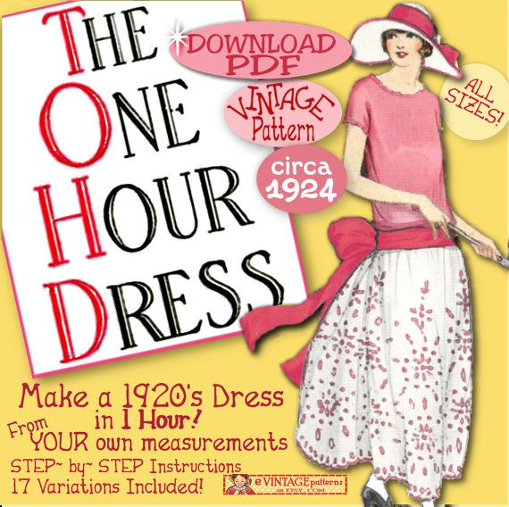 1920's 1 HOUR Dress  make Your own frock patterns like