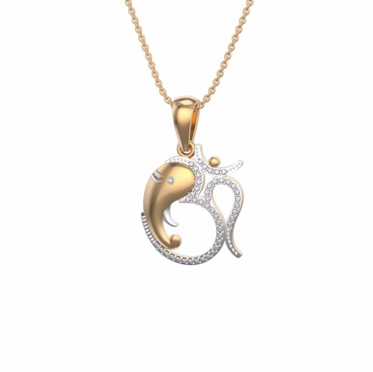 "Two Tone Gold On 925 Sterling Round White Diamond ""OM GANESH PENDANT"" For Unisex #eighty #OMGANESHPENDANT"