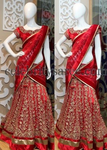 Gold Rose Work Velvet Half saree | Saree Blouse Patterns