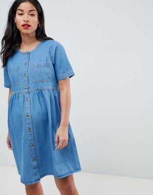 c9dbb3e5072 DESIGN Maternity denim smock dress in midwash in 2019