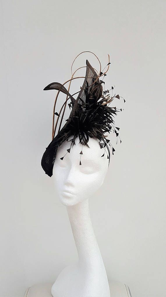 Striking black hatinator.Gold Fascinator.Wedding Headpiece.Mother of ... c311b12a08a